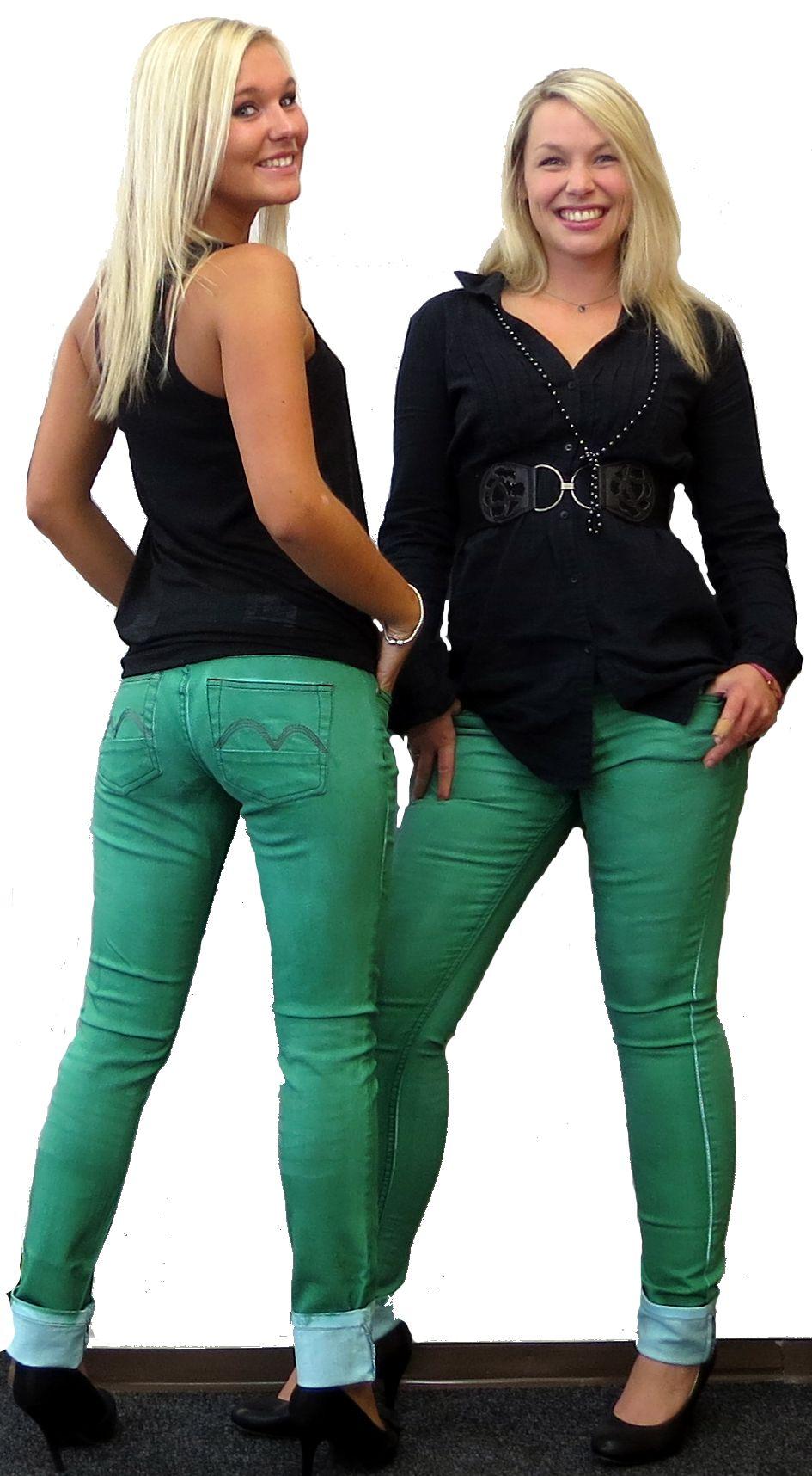 roadsign damen jeans color jeans hose gr n denim skinny. Black Bedroom Furniture Sets. Home Design Ideas